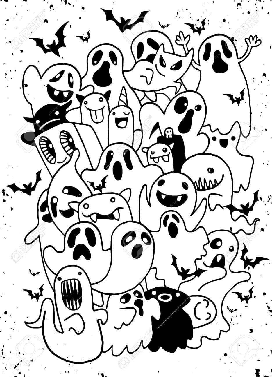 Cartoon Ghost Step By Step Drawing Lesson Ghost Cartoon Drawing Lessons Drawing Exercises