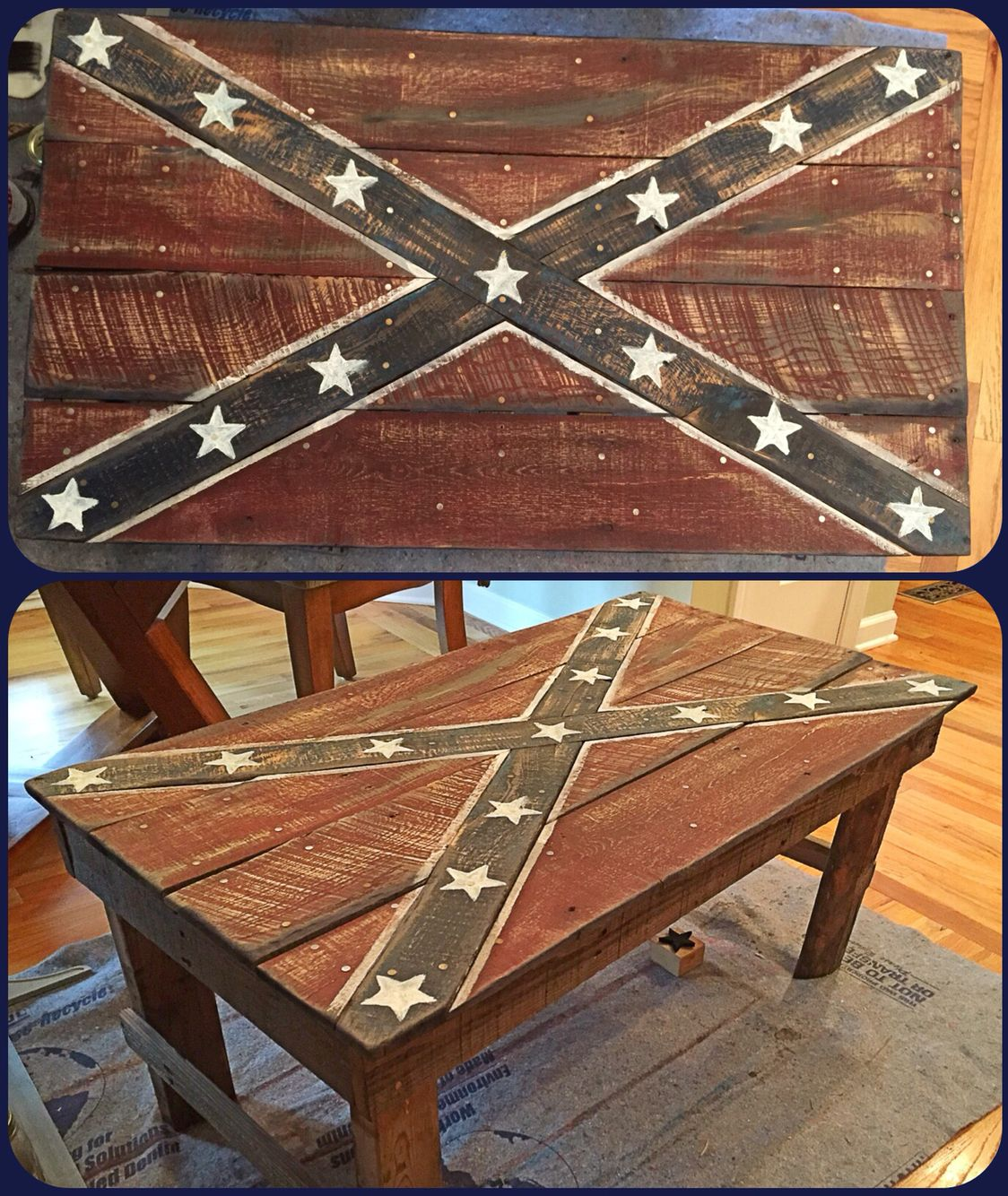 Confederate Flag Coffee Table handmade entirely from reclaimed wood