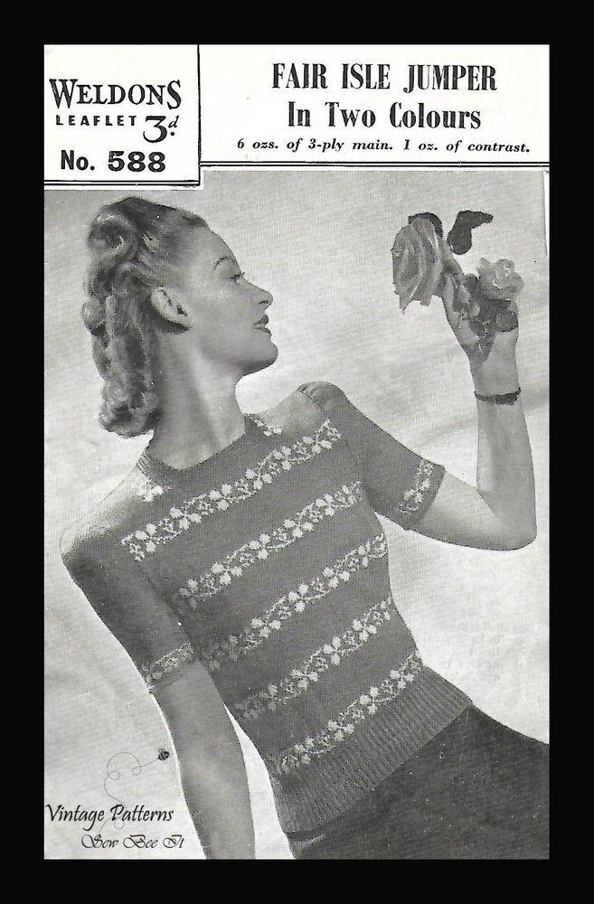 Sirdar 1940's Knitting Pattern Fair Isle Floral Leaf Jumper PDF ...