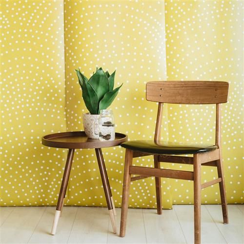 Anewall Crescent Polka Dots Modern Classic Mustard Wallpaper | Kathy Kuo Home