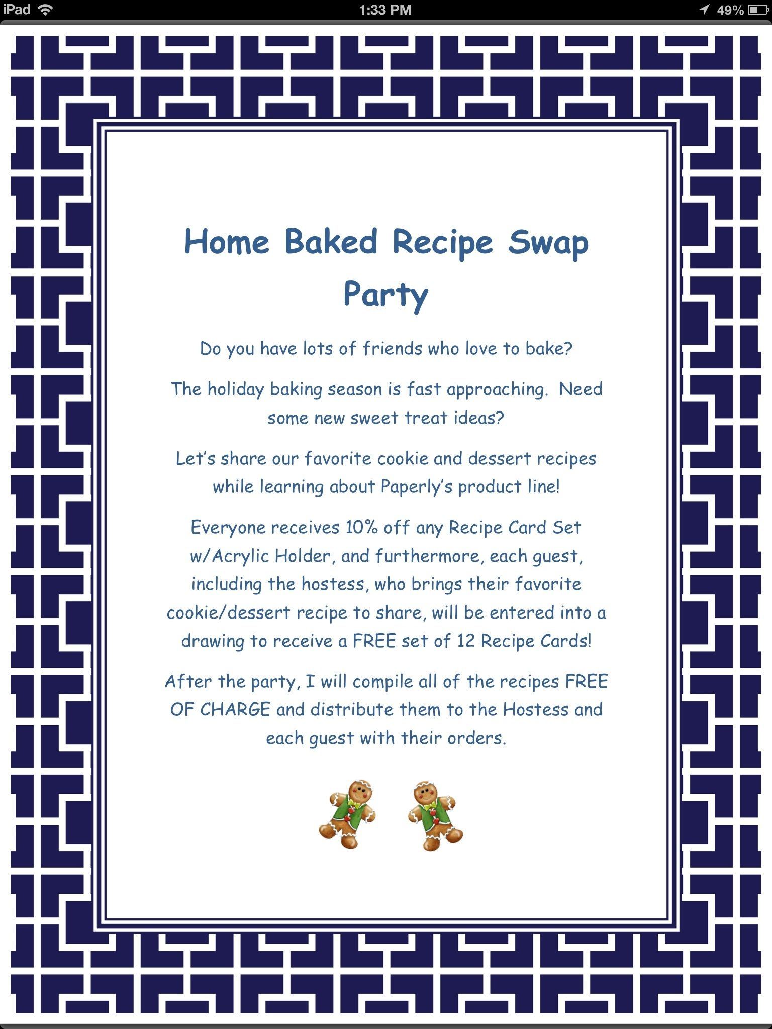Home Baked Recipe Swap Party! Home party plan holiday sales idea ...