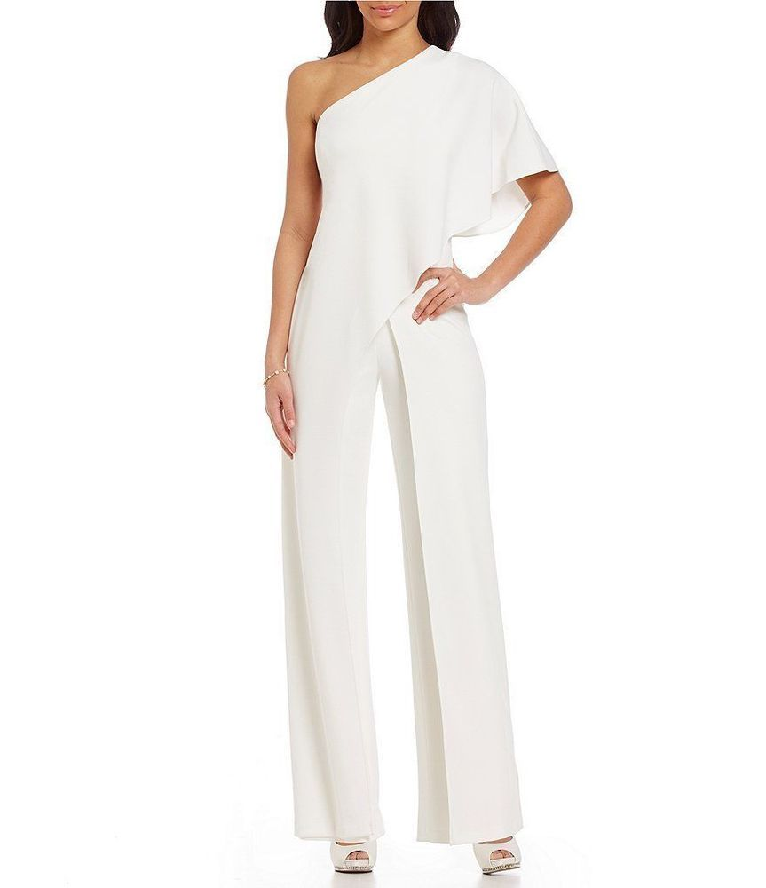 0f1f901dc53 NWT Adrianna Papell Draped One Shoulder white cocktail romper Jumpsuit Plus  20W  AdriannaPapell  Jumpsuit