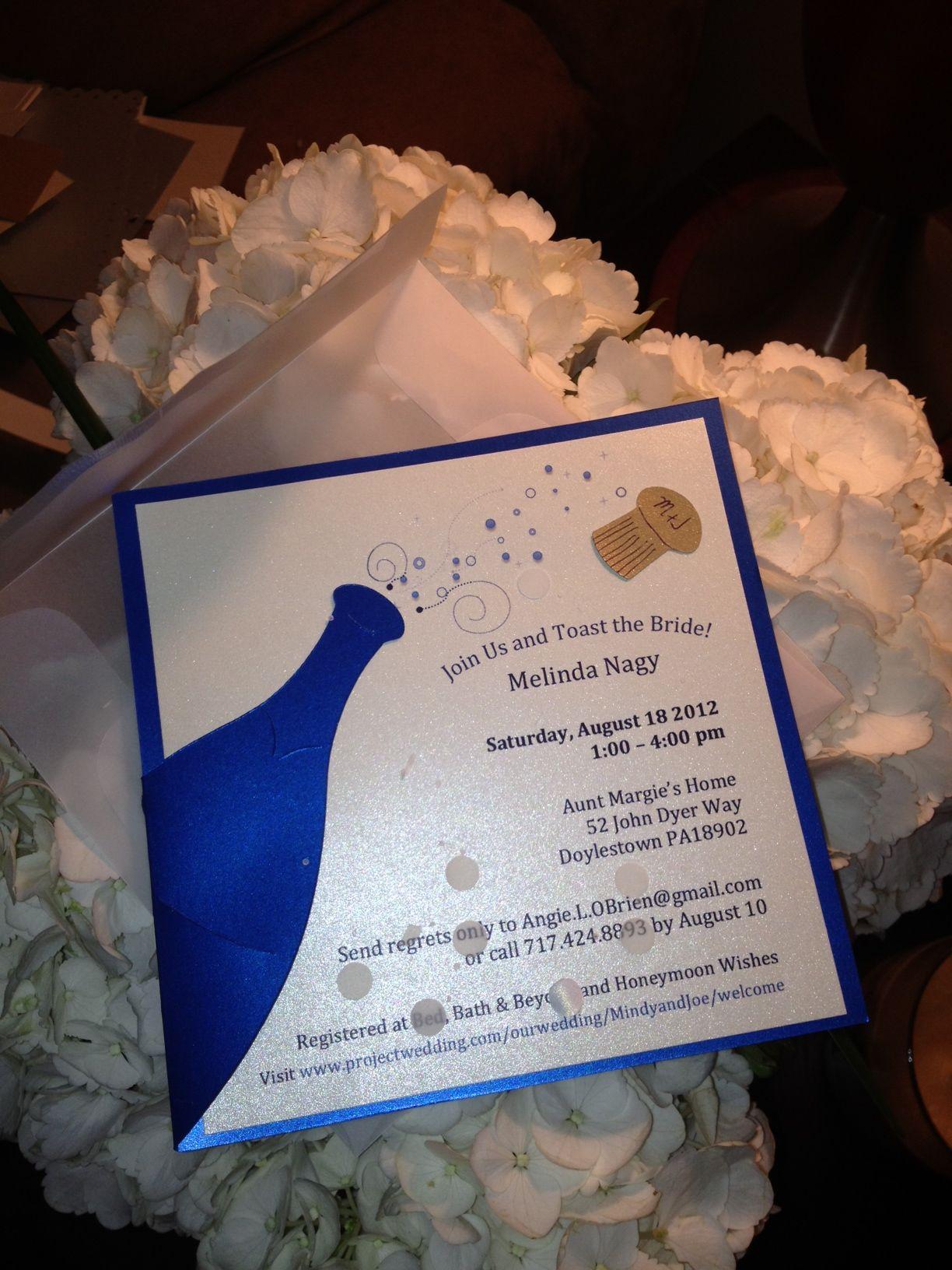 bridal shower invitations registry etiquette%0A Bridal Shower Invitation  Handmade by Angie O u    Brien  The Cork and bubbles  are