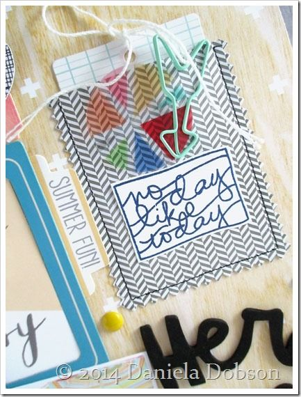 Great idea for scrapbook pages: Make a pocket from vellum. Add a stamped element on top. (Daniela Dobson stamped the words with the Pure Magic by Ali Edwards stamp set from TechniqueTuesday.com.)