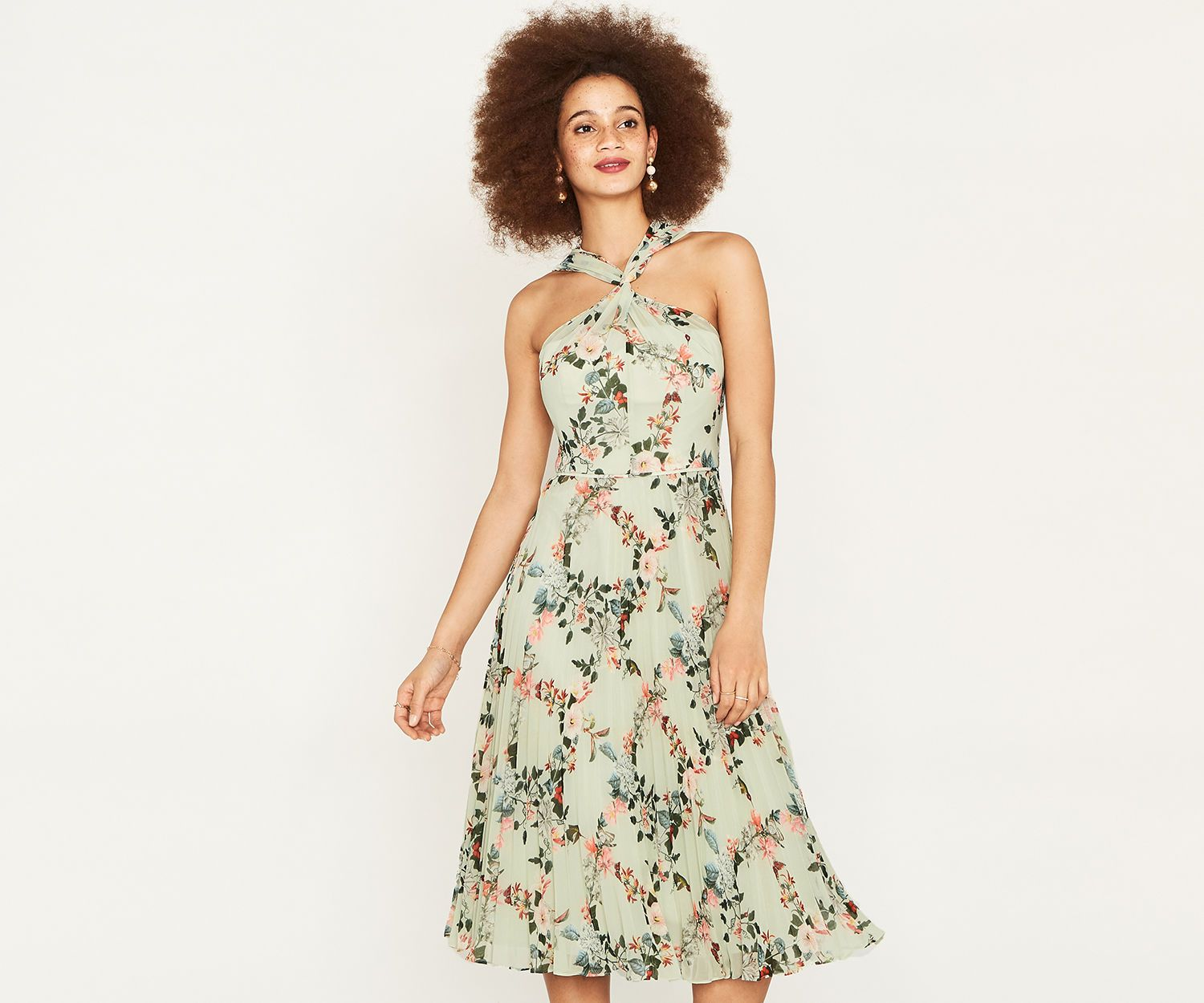 15bb1e2bf75c Oasis, FITZWILLIAM PLEAT DRESS Multi Green | Fashion | Dresses ...