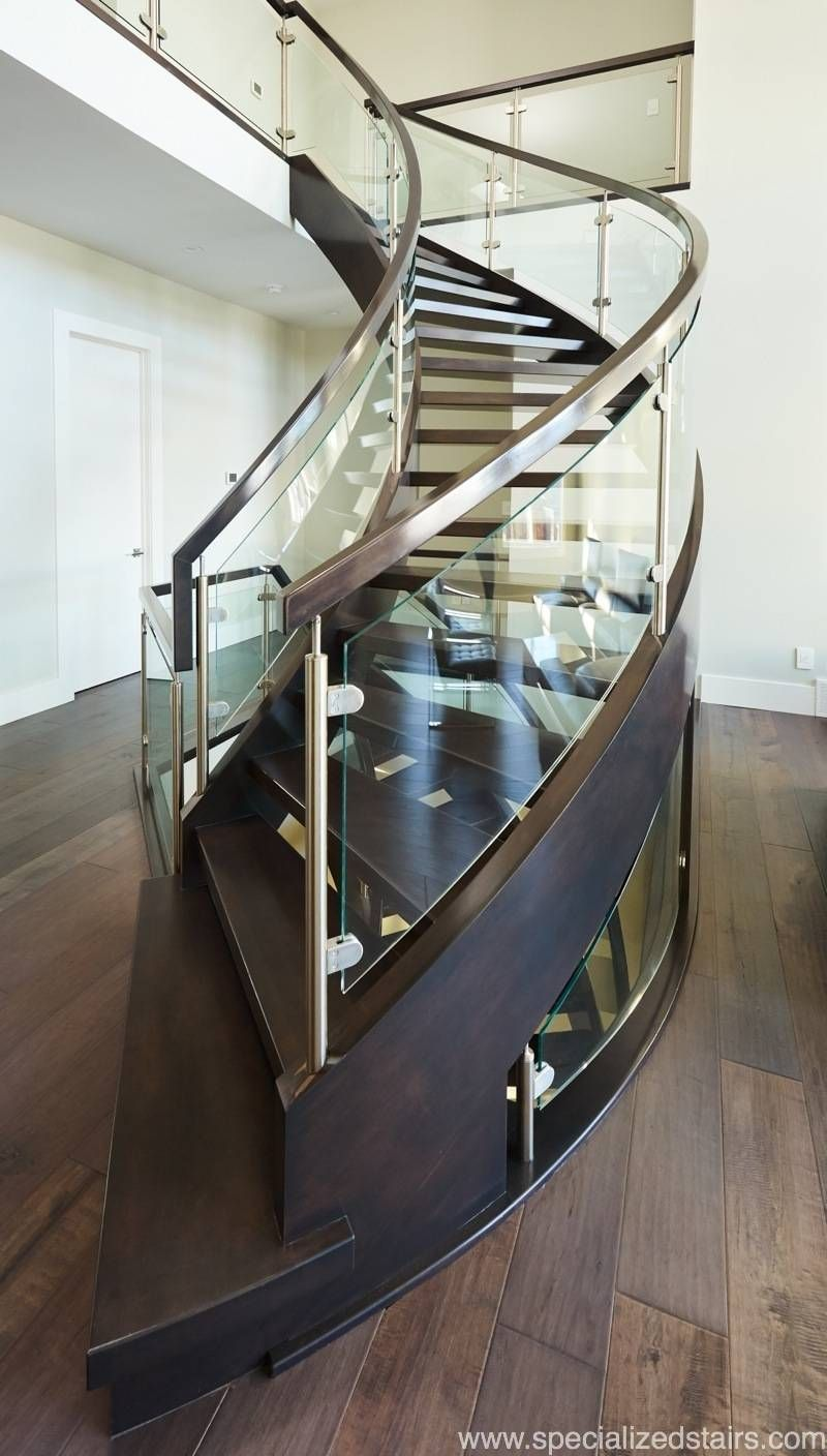 Best Curved Open Rise Maple In 2020 Stair Railing Glass 400 x 300
