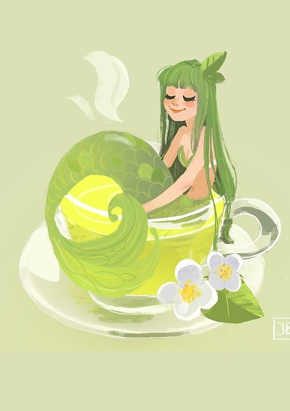 'Green Tea Mermaid' Spiral Notebook by Julia Blattman