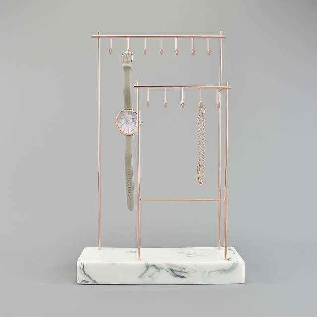 7ebbe367c Stackers 12-Hook Jewellery Stand with Marble Base, Rose Gold at John Lewis