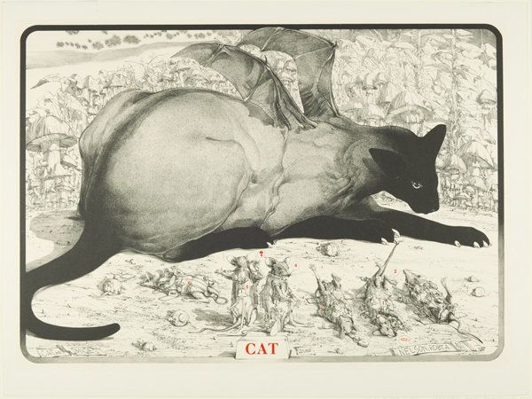Cat and Mice, 1975 color lithograph on cream wove paper Gift of The Boston Printmakers 1976.43 © Robert A. Nelson