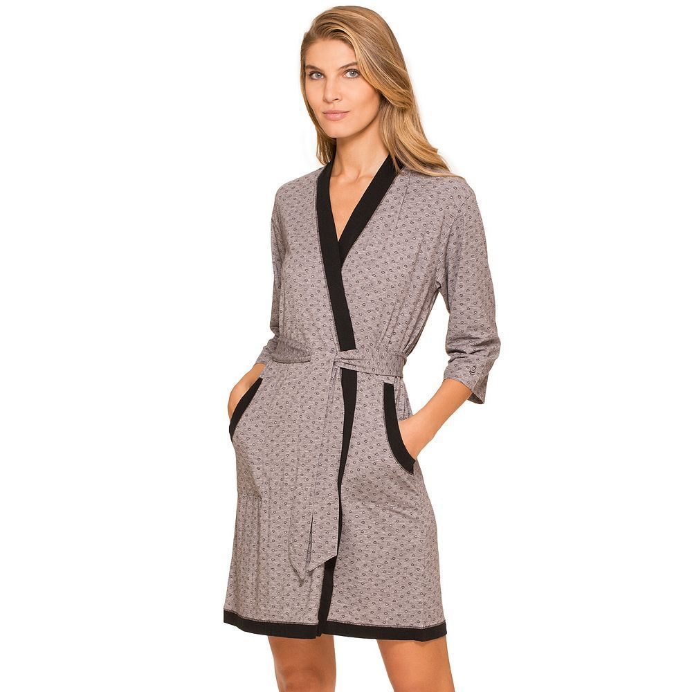 Women's Cuddl Duds Pajamas: Essentials Wrap Robe, Size: Small, Med Grey