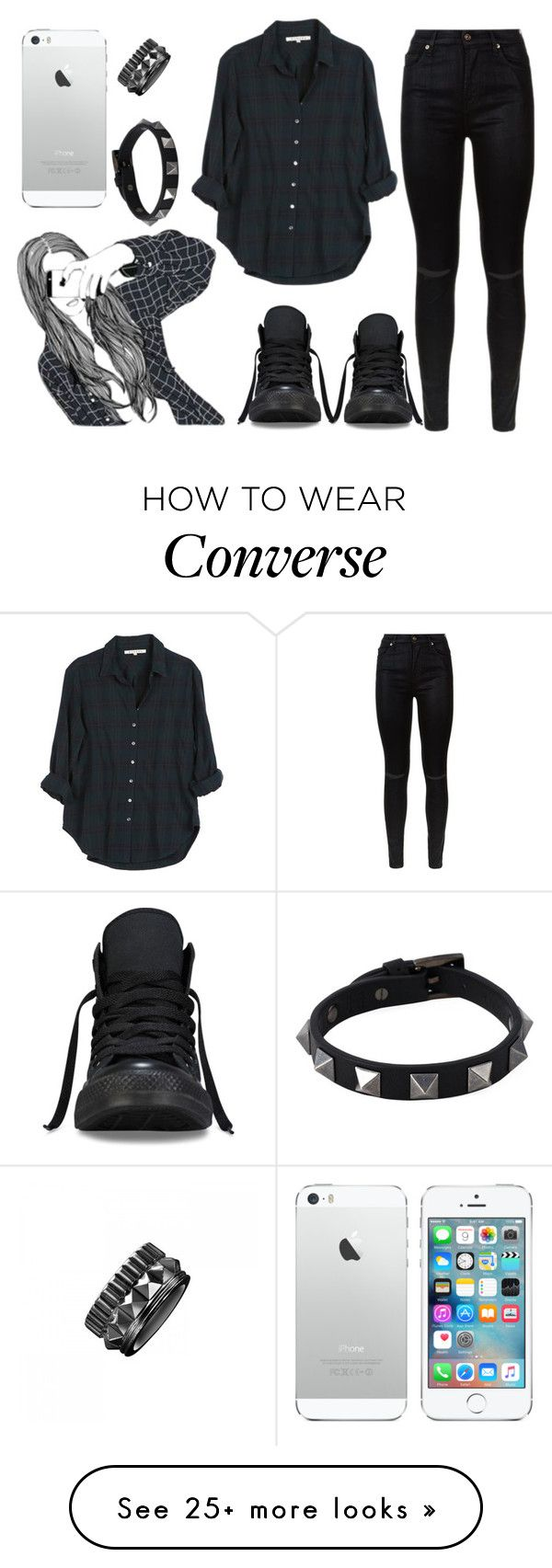 """""""Untitled #156"""" by marleen5marleen on Polyvore featuring moda, 7 For All Mankind, Xirena, Waterford, Valentino y Converse"""