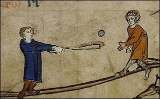 "Found in the margins of a calendar in a 14th-century Flemish book of hours. Various historians of sport have identified this as a version of ""stool ball"" or ""stump ball"", which was baseball played with only one base"