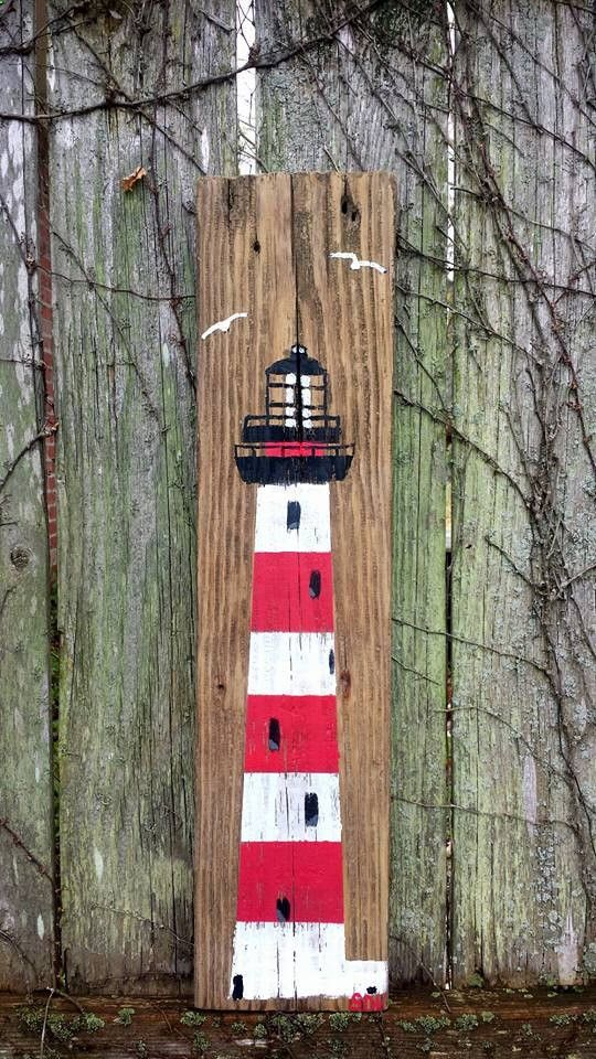Reclaimed Barn Wood Hand Painted LIGHTHOUSE ART by MySalvagedPast ...