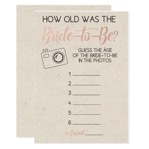 Bridal Shower Game- Guess Brides Age from Photo | Zazzle.com