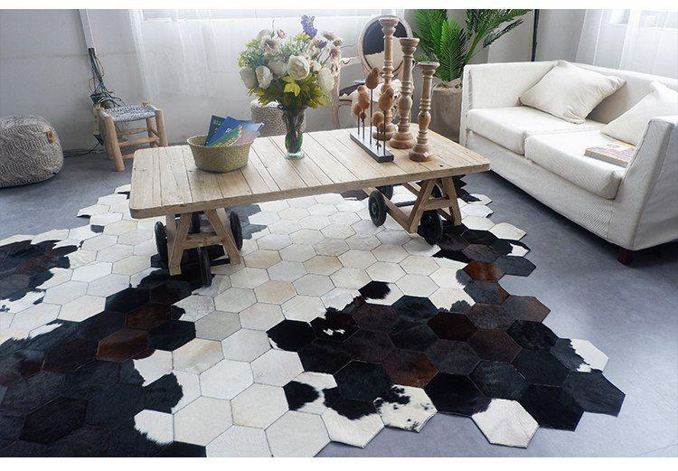 beehive design cowhide patchwork rug 4