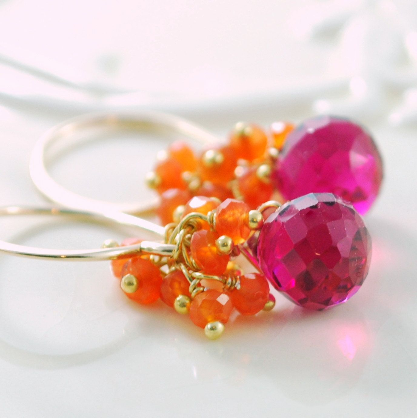 Orange Carnelian Earrings Hot Pink Bright Fuchsia Quartz Semiprecious Gemstone Wire Wrapped Cluster Gold Jewelry Complimentary Shipping.
