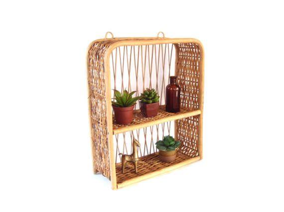 Boho Wicker Bamboo Shelf 2 Tier Vintage Rattan Bohemian Wall Bamboo Shelf Vintage Home Decor Wicker Shelf