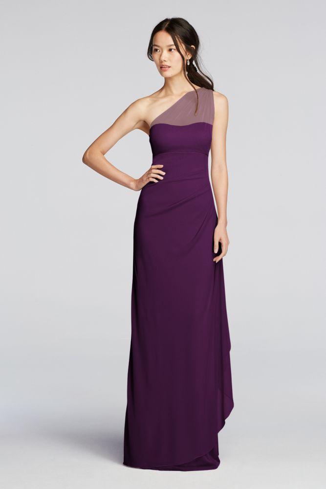 Extra Length Long Mesh One Shoulder Illusion Bridesmaid Dress Plum