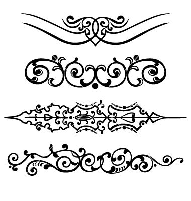 Set swirling decorative elements ornament vector image on