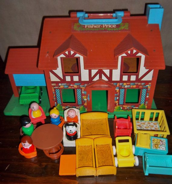 Vintage Fisher Price Little People Tudor House Complete With Nursery