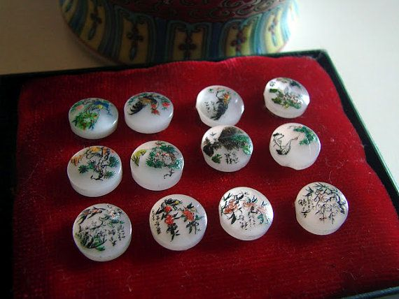 Beautiful Hand Painted Peacock Buttons Circa by AntiqueAlchemists, $10.00