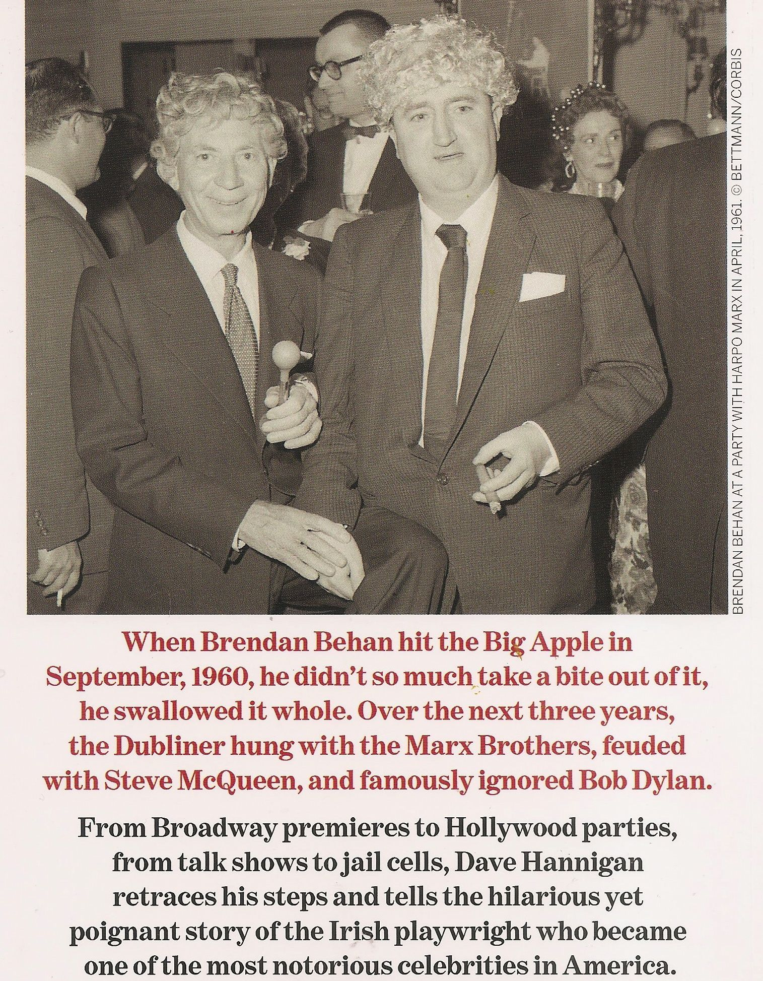 Behan With Harpo Marx At A New York Party In April 1961 From The