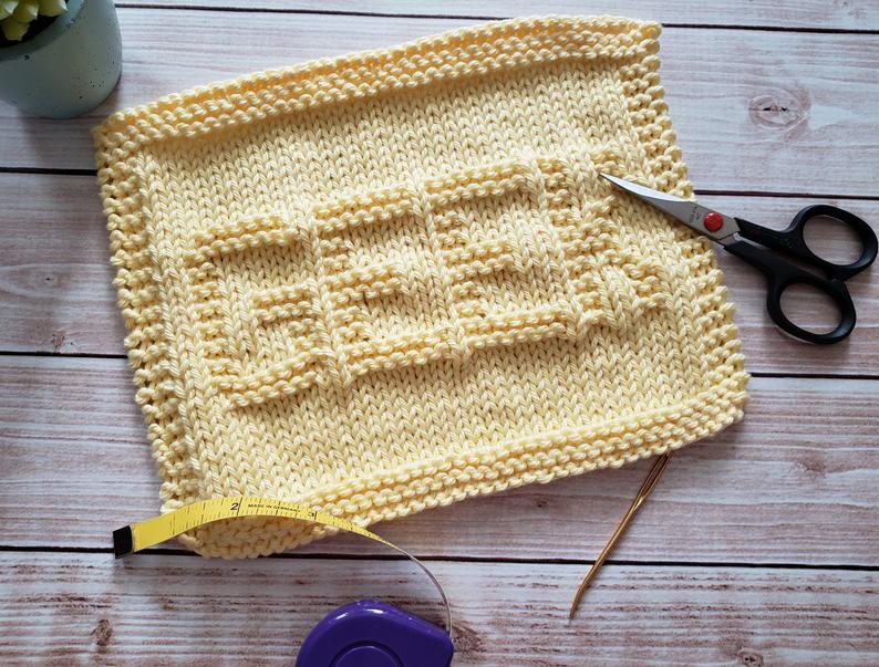 Geek Knit Dishcloth PDF Pattern - Easy Beginner Knitting ...