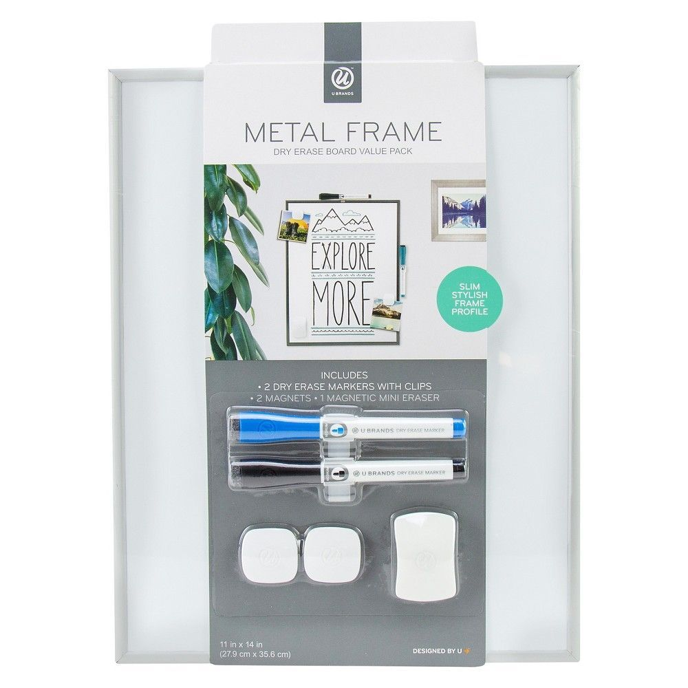 Ubrands Dry Erase Board with Gold Metal Frame, Magnetic with 2 Dry Erase Markers, 2 Magnets, and 1 Eraser, 11 x 14,