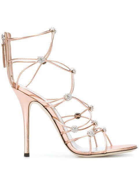 strappy crystal beaded heeled sandals - Metallic Giuseppe Zanotti 3PSBXyH2