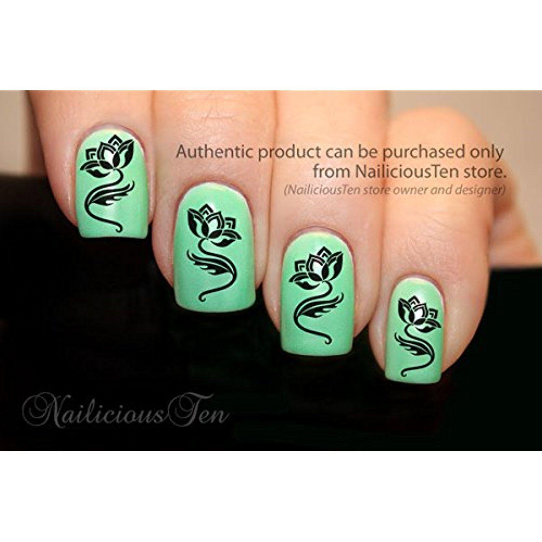 NAILICIOUS TEN Tattoo Style Lotus Flower Nail Wrap Art Water ...