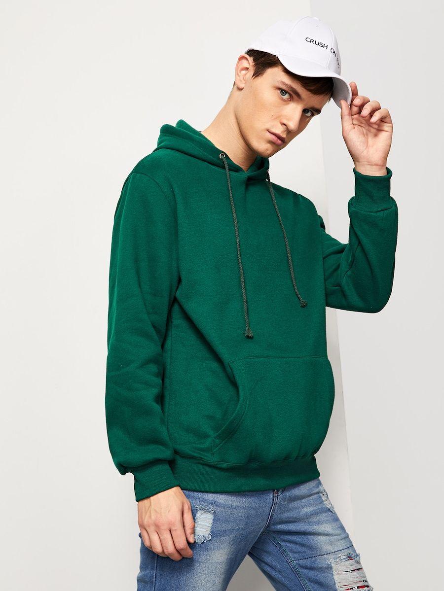 a1fad9d4c5 Men Solid Hooded Sweatshirt -SHEIN(SHEINSIDE) | Fashion tips in 2019 ...