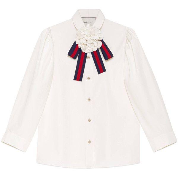 54bccfe8 Gucci Cotton Poplin Shirt featuring polyvore women's fashion clothing tops  cotton ready-to-wear tops & shirts women 3/4 length sleeve shirts three  quarter ...