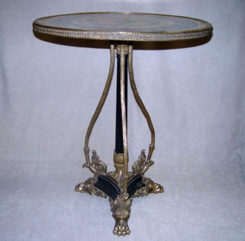 Porcelain Hand Painted French Louis XV Bronze Table