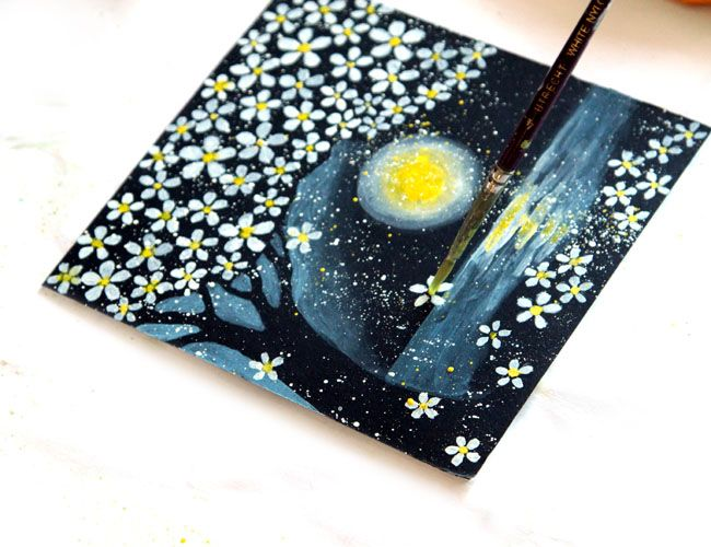 How To Paint Cherry Blossoms On Black Paper Art Ideas For Teens