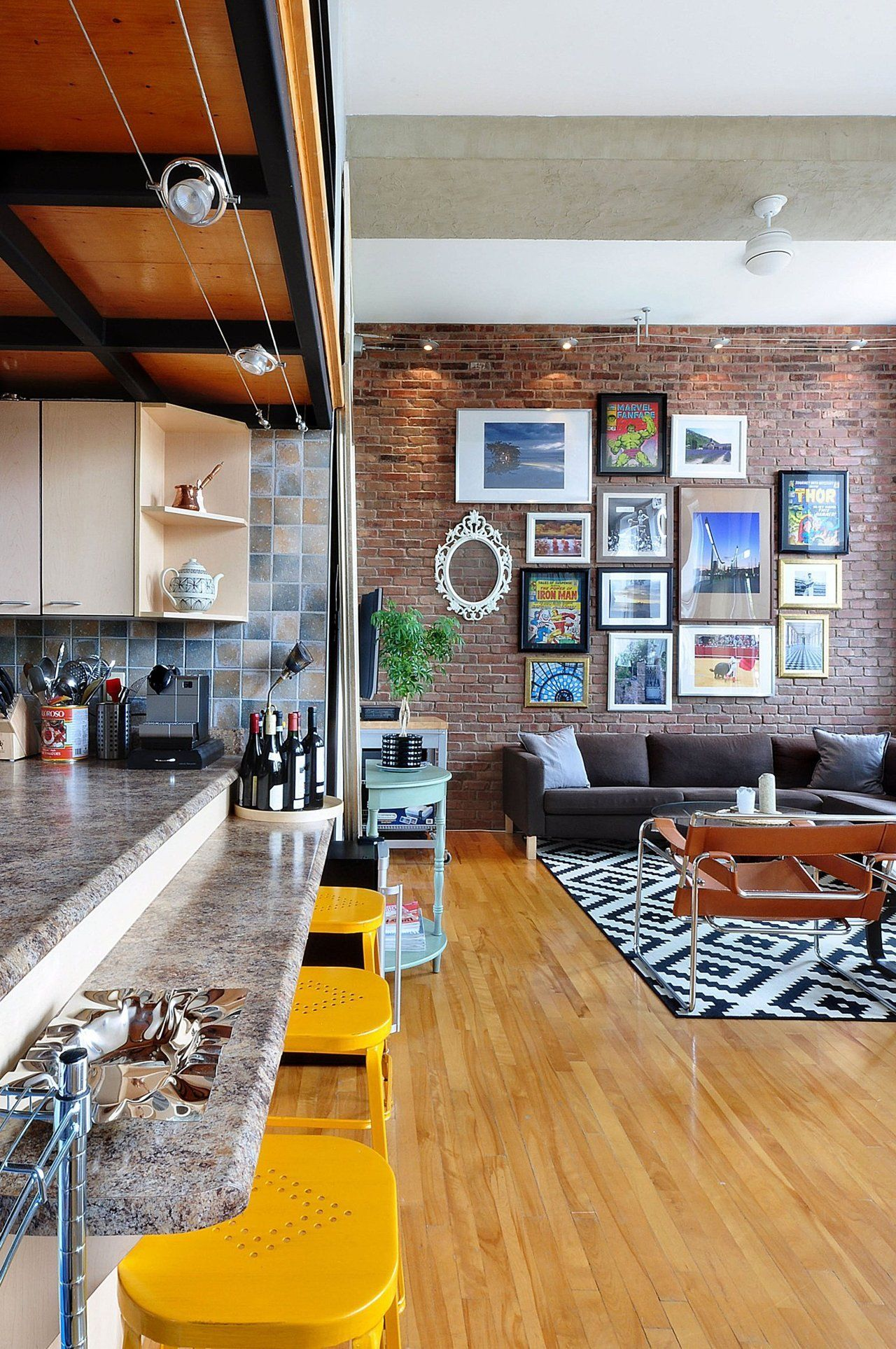 Elegant Hip, Patterned, Industrial Style In A Montreal Loft