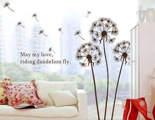 BROWN Flying Dandelion Wall Stickers Home - Decors Removable Mural Art Nursery Decal (Decowall-stickers) , http://www.amazon.com/dp/B009XJTR1C/ref=cm_sw_r_pi_dp_lr68qb1XSD3N2