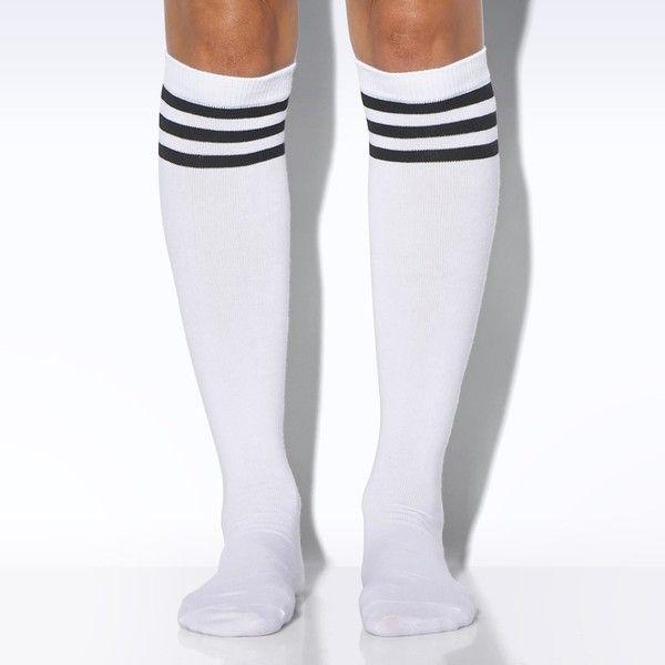 classic fit f2717 4f581 Adidas Knee Socks 1 Pair ( 7) ❤ liked on Polyvore featuring intimates,  hosiery, socks, adidas, cuff socks, knee high hosiery, stripe socks,  striped socks ...