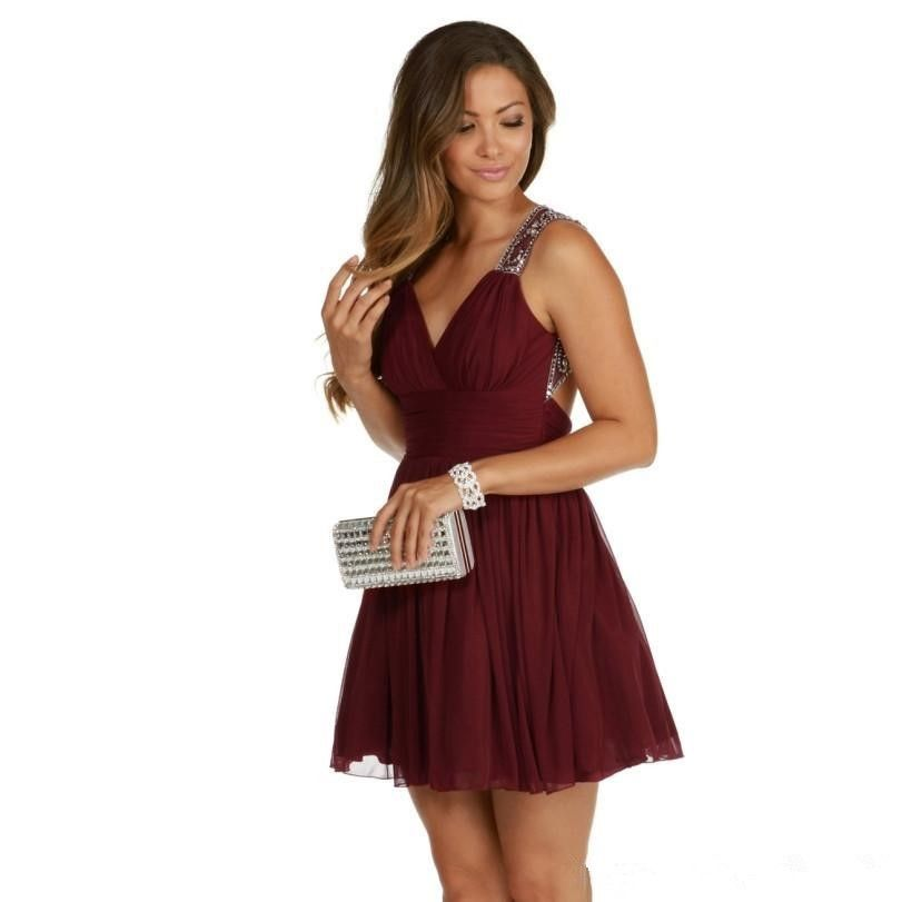 Burgund Cocktailkleider Eine Linie Backless robe de cocktail Short ...