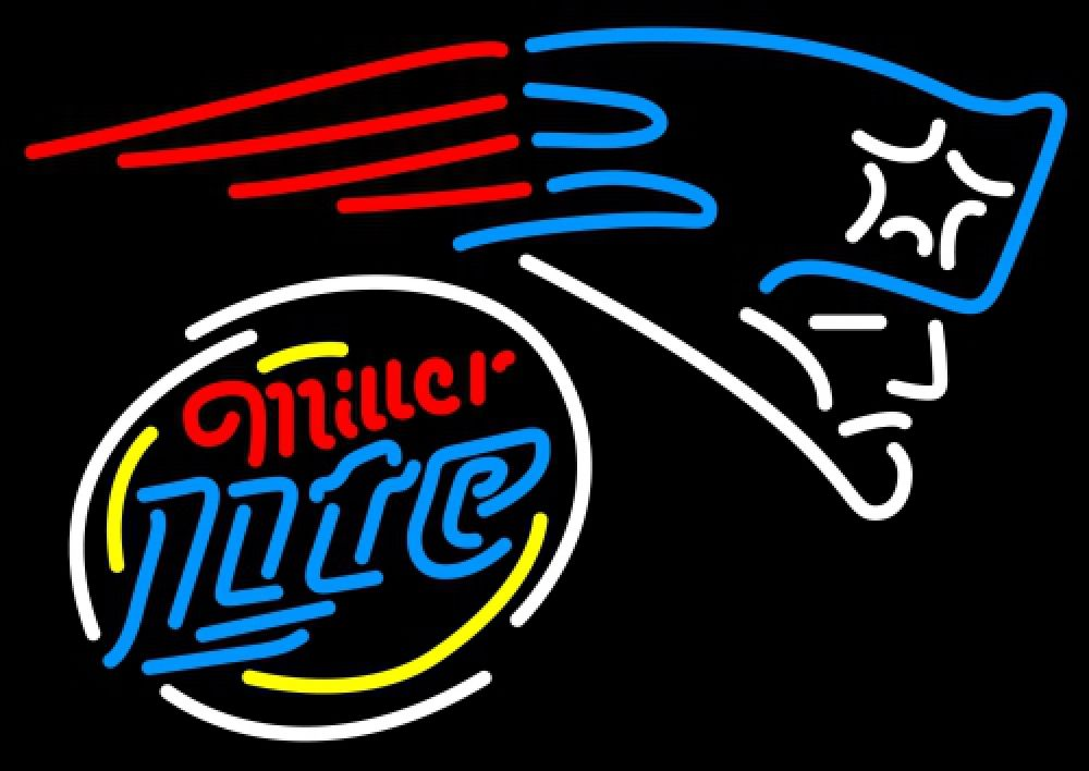 Miller Lite Rounded New England Patriots NFL Neon Sign 1