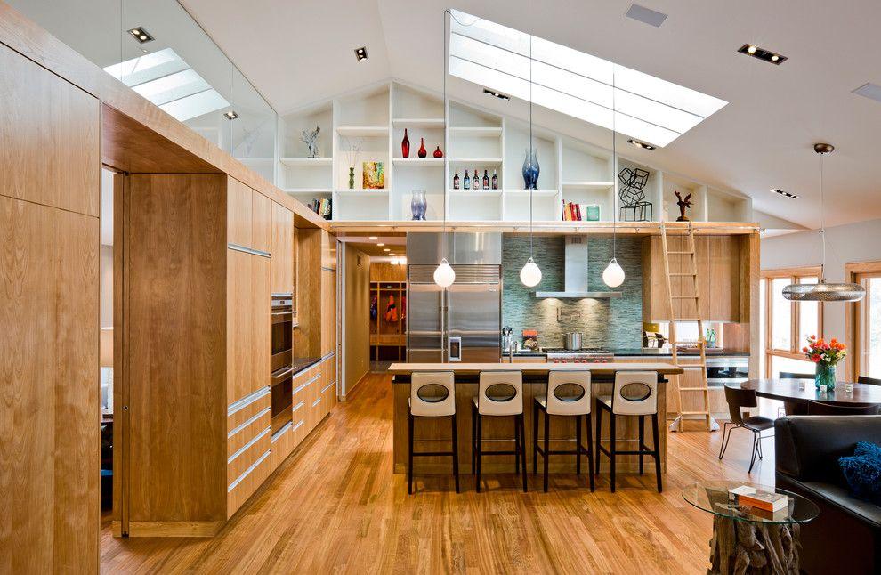 Sloped Ceiling Lighting In Kitchen Modern With Built In Shelves