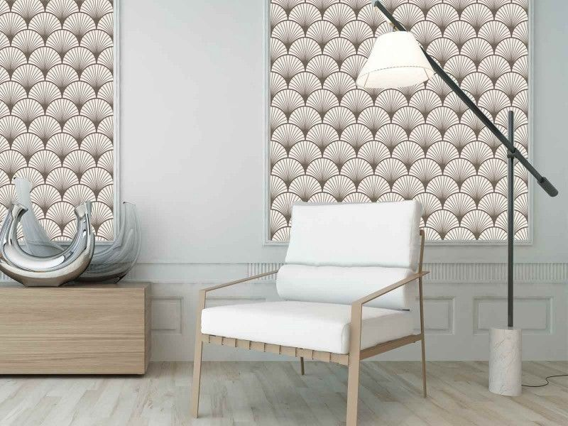 mod le seigaiha beige papier peint de cr ateur compos de motifs japonais seigaiha beige. Black Bedroom Furniture Sets. Home Design Ideas