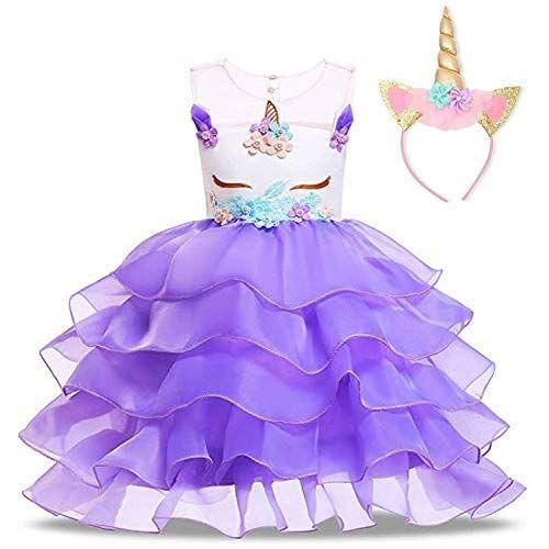 3d1d4d51b2b NNJXD Flower Girls Unicorn Costume Pageant Princess Party Ruffles Dress  with Headband Size (110)