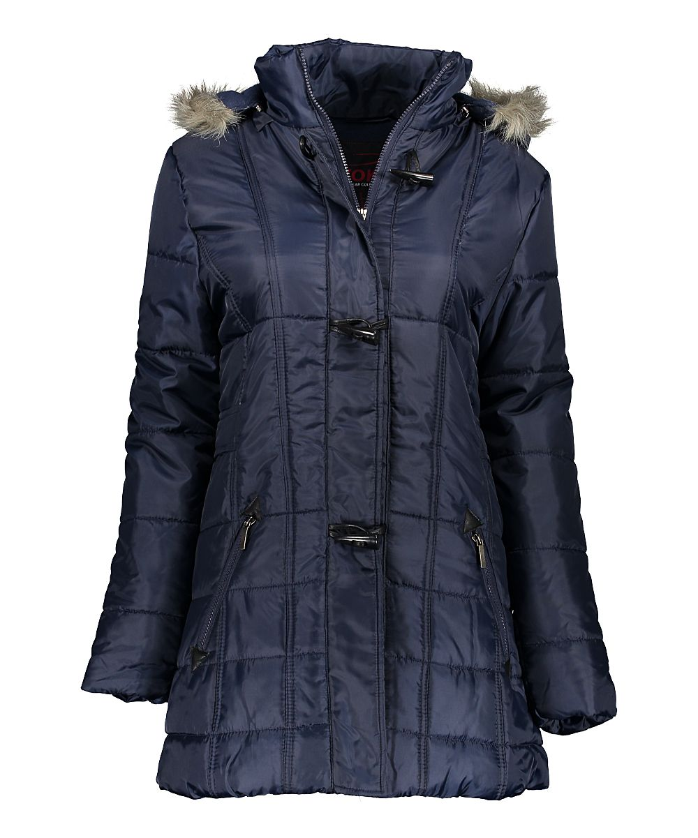 Navy Toggle Puffer Coat