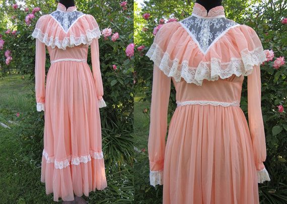 80s Bridesmaid Dress / 1980s Prairie