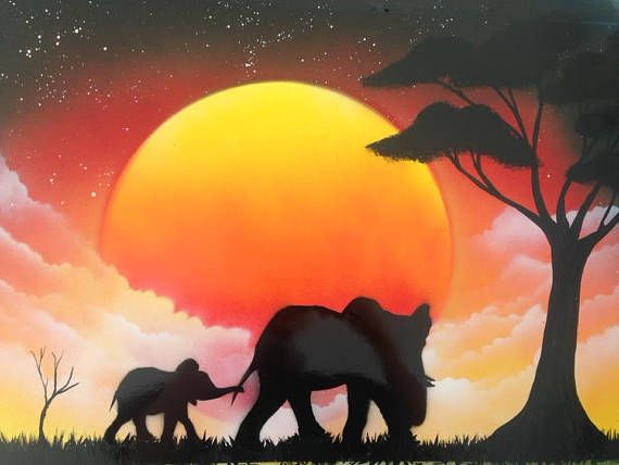 Sunset African Elephants Spray Paint Art Find Me On Facebook