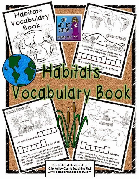 Clip Art by Carrie Teaching First: New Habitats Vocabulary Book