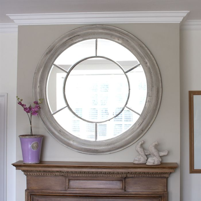 White Washed Round Window Mirror Large Mirror Living Room Living Room Mirrors Round Mirror Decor