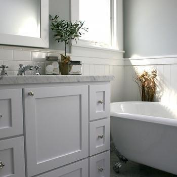 beadboard backsplash | grey bathrooms designs, subway