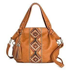 Under One Sky Women's Satchel Handbag with Embroidery Detail with an Additional Crossbody Handbag - Cognac