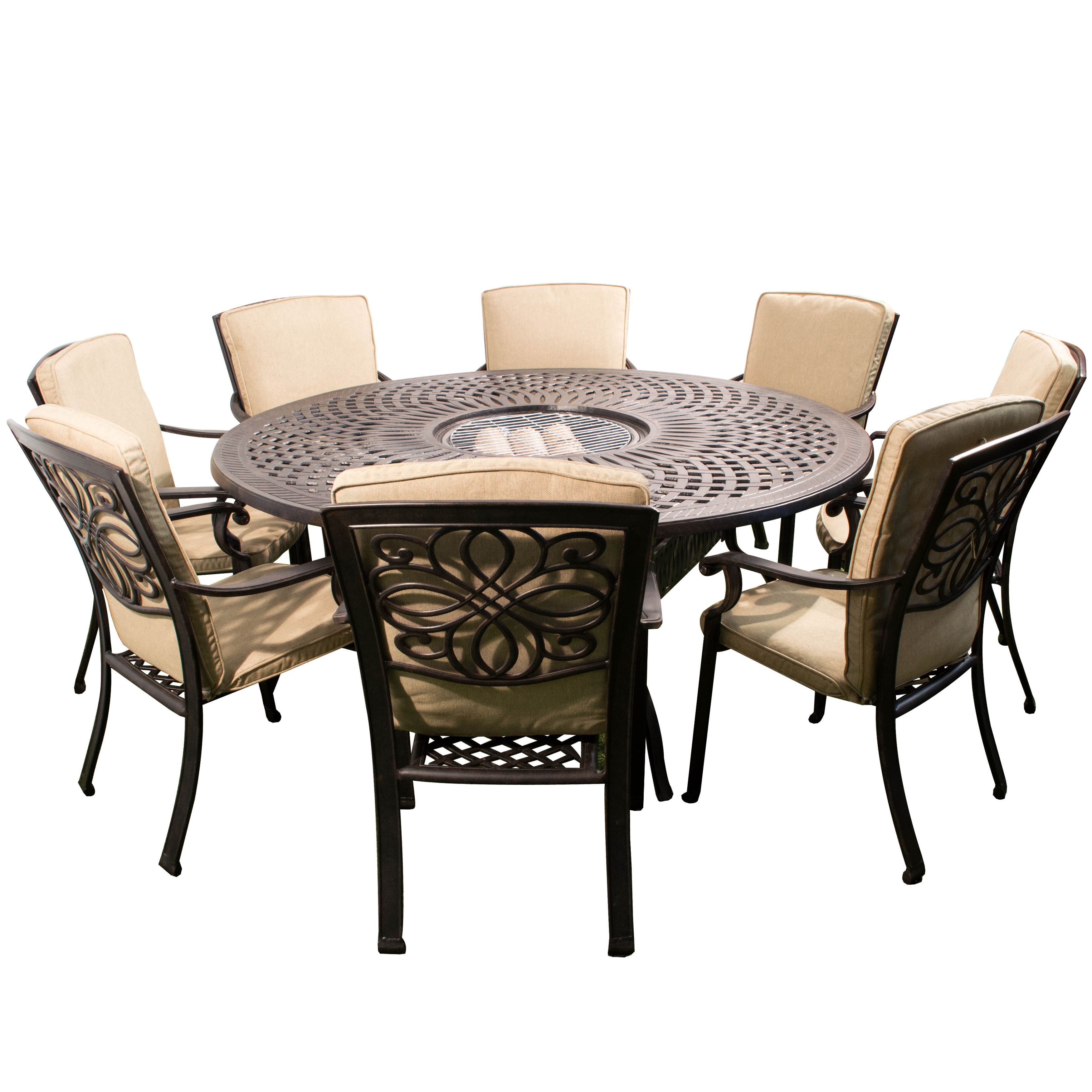 Gregg Wallace Cast Metal 8 Seat Garden Set Round Outdoor Dining